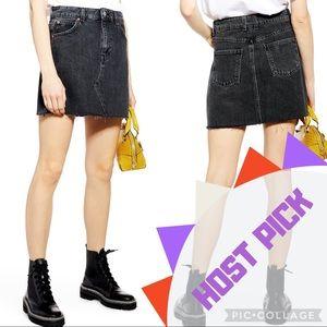 Topshop Black Raw Hem Denim Jean Mini Skirt A0121